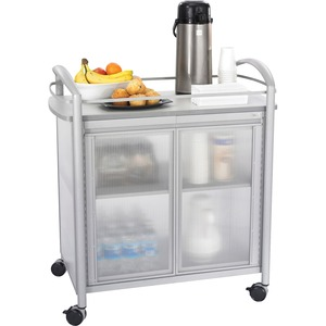 "Safco Impromptu Refreshment Cart - 1 Shelf - 4 - 31"" x 19.5"" x 37"" - Gray"