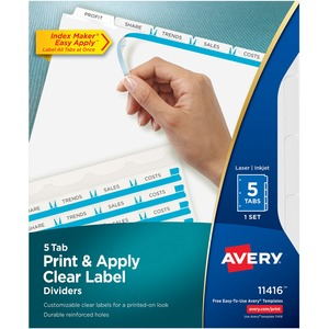 "Save $2.44 (37%) on Avery Index Maker Clear Label Divider with Tabs Letter - 8.5"" x 11"" - 5 / Set by Clary Business Machines"