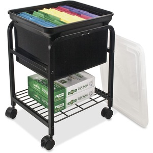 Advantus Storage Rolling File Cart - 4 - Metal - Black