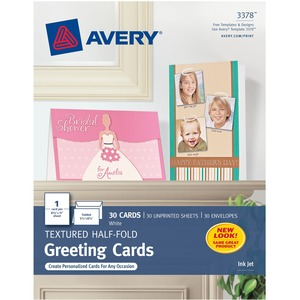 "Avery Textured Half-Fold Greeting Cards - 5.5"" x 8.5"" - 30 / Box - White"