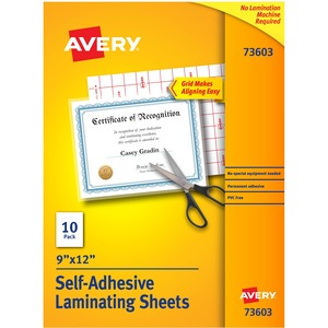"Avery Self-Adhesive Laminating Sheets - 9"" Width x 12"" Length - Self-adhesive - 10 / Pack - Clear"