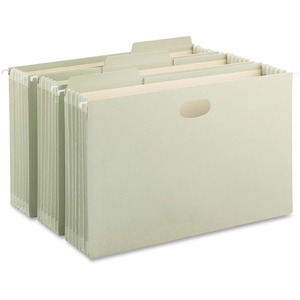 "Smead FasTab 64324 Hanging Pocket - Legal - 8.5"" x 14"" - 1/3 Tab Cut on Assorted Position - 5.25"" Expansion - 9 / Box - 11pt. - Moss"