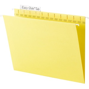 "Smead TUFF 64044 Hanging Folder with Easy Slide Tab - Letter - 8.5"" x 11"" - 1/3 Tab Cut on Assorted Position - 18 / Box - 11pt. - Yellow"