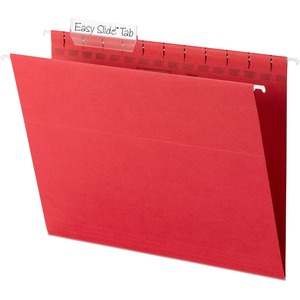 "Smead TUFF 64043 Hanging Folder with Easy Slide Tab - Letter - 8.5"" x 11"" - 1/3 Tab Cut on Assorted Position - 18 / Box - 11pt. - Red"