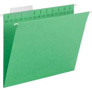 "Smead TUFF 64042 Hanging Folder with Easy Slide Tab - Letter - 8.5"" x 11"" - 1/3 Tab Cut on Assorted Position - 18 / Box - 11pt. - Green"