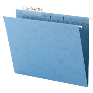 "Smead TUFF 64041 Hanging Folder with Easy Slide Tab - Letter - 8.5"" x 11"" - 1/3 Tab Cut on Assorted Position - 18 / Box - 11pt. - Blue"