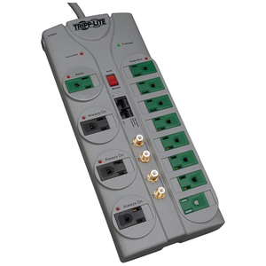 TRIPP LITE 10FT ECO SURGE PROTECTOR GREEN 12OUT TEL/COAX CORD 3600 JOULES