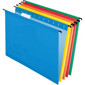 "Pendaflex SureHook ESS615215AST Reinforced Hanging Folder - Letter - 8.5"" x 11"" - 1/5 Tab Cut - 20 / Box - Red, Blue, Orange, Yellow, Bright Green"
