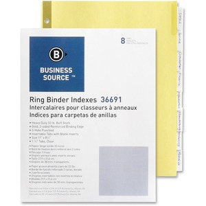 Business Source Insertable Tab Index - 8 x Tab - 8 / Set - Clear Tab