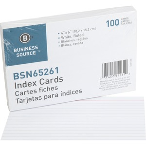 "Business Source Ruled Index Card - Printed - 4"" x 6"" - 100 / Pack - White Divider"