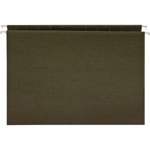 "Business Source Standard Hanging File Folder - Letter - 8.5"" x 11"" - 25 / Box - 11pt. - Green"