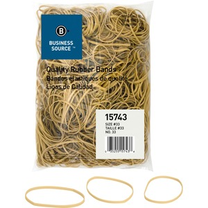Business Source Quality Rubber Band - Size: 33 - 3.5&quot; Length x 0.12&quot; Width - Sustainable, Biodegradable - 1 Bag - Rubber - Crepe
