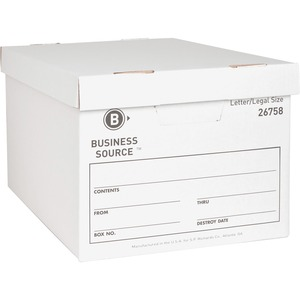 "Business Source File Storage Box - Legal, Letter - External Dimensions 10"" Height x 12"" Width x 15"" Depth - Cardboard - White"