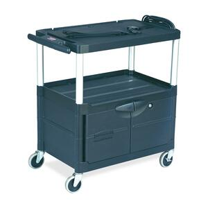 Rubbermaid MediaMaster 9T29 Audio Visual Cart - Metal, Aluminum - Black