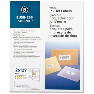 "Business Source Mailing Inkjet Label - 1"" Width x 2.62"" Length - Permanent - 3000 / Pack - White"