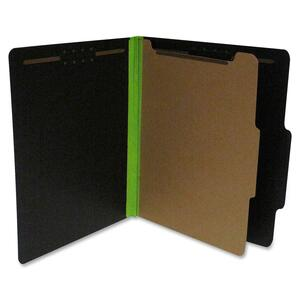 "SJ Paper S62615 Fusion Classification Folder - Letter - 8.5"" x 11"" - 2/5 Tab Cut on Right of Center - 1 Divider - 1.5"" Expansion - 2 Fastener - 20 / Box - 25pt. - Green, Black"