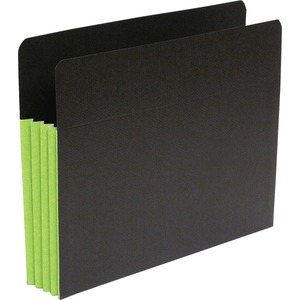 "SJ Paper S83605 Fusion Expanding Clutch Pocket - Letter - 8.5"" x 11"" - 3.5"" Expansion - 25 / Box - 23pt. - Green, Black"