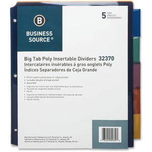 "Business Source 32370 Double Pocket Index Divider - 5 x Tab Print-on - 8.5"" x 11"" - 5 / Set - Multicolor Tab"