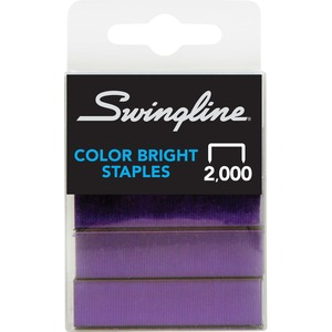 Swingline Brightly Colored Staples - 105 Per Strip - 0.25&quot; Leg - 2000 / Box