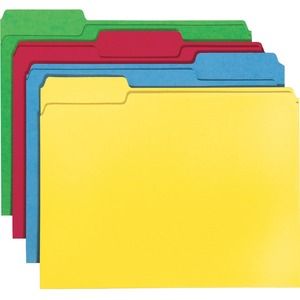 "Smead Top Tab File Folder - Letter - 8.5"" x 11"" - 1/3 Tab Cut on Assorted Position - 24 / Pack - 11pt. - Assorted"