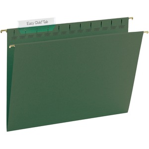 "Smead TUFF Hanging File Folder with Easy Slide Tab - Letter - 8.5"" x 11"" - 1/3 Tab Cut on Right of Center - 20 / Box - 11pt. - Green"