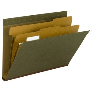 "Smead Hanging File Folder with Dividers - Letter - 8.5"" x 11"" - 1/5 Tab Cut on Top - 2 Divider - 2"" Expansion - 2 Fastener - 10 / Box - 14pt. - Green, Clear"