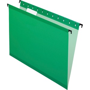 "Esselte SureHook Reinforced Hanging File Folder - Letter - 8.5"" x 11"" - 1/5 Tab Cut - 20 / Box - Bright Green"