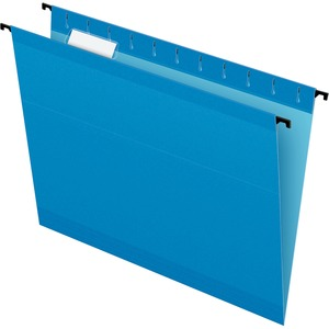 "Esselte SureHook Reinforced Hanging File Folder - Letter - 8.5"" x 11"" - 1/5 Tab Cut - 20 / Box - Blue"