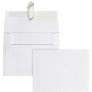 "Quality Park Greeting Card/Invitation Envelope - 4.38"" x 5.75"" - Peel and Seal - 100 / Box - White"