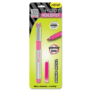 Zebra Pen H-301 Highlighter - Marker Point Style: Chisel - Ink Color: Pink - Barrel Color: Stainless Steel - 1 Each
