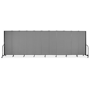 Screenflex FREEstanding 11 Panels Portable Partition - 20.5ft6ft Height - Stone - Polyester