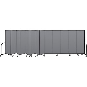 Screenflex FREEstanding 13 Panels Portable Partition - 24.1ft6ft Height - Stone - Polyester