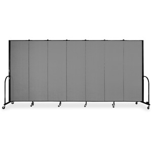 Screenflex FREEstanding 7 Panels Portable Partition - 13.1ft6ft Height - Stone - Polyester