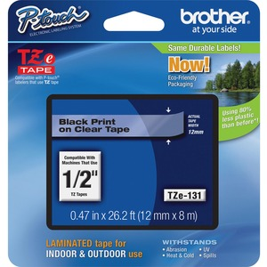 BROTHER - SUPPLIES 12MM BLACK ON CLEAR TAPE FOR P-TOUCH