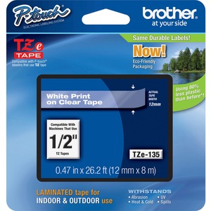 BROTHER - SUPPLIES 12MM WHITE ON CLEAR TAPE FOR P-TOUCH