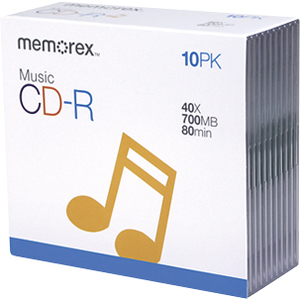 Memorex CD Recordable Media - CD-R - 40x - 700 MB - 10 Pack Slim Jewel Case - 120mm1.33 Hour Maximum Recording Time