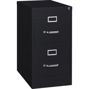 Lorell Commercial-grade Vertical File - 15 X 22 X 28.4 - 2 X Drawer(S) For File - Letter - Lockable, Ball-bearing Suspension - Black - Recycled