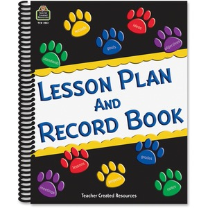 Teacher Created Resources Paw Prints Lesson/record Book - Weekly - 9 Month - 8 1/2 X 11 - Spiral Bound - Reference Calendar