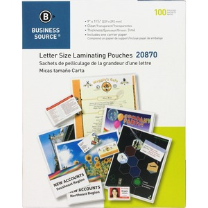 Business Source Letter-size Laminating Pouch BSN20870