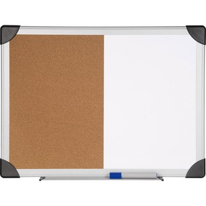 Lorell Dry Erase Aluminum Frame Cork Combo Boards - 18 Height X 24 Width - Natural Cork Surface - Self-healing - Aluminum Frame - 1 Each
