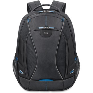 "Solo Tech Carrying Case (Backpack) for 17.3"" Notebook, iPad, Digital Text Reader, Tablet PC - Black, Blue USLTCC703420"