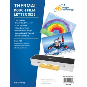 """Royal Sovereign Letter Size   8 3/4"""" x 11 1/4""""   5mil   100 Pack   Thermal Laminating Pouches"""