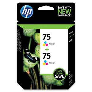 HP 75 2-pack Tri-color Original Ink Cartridges HEWCZ070FN