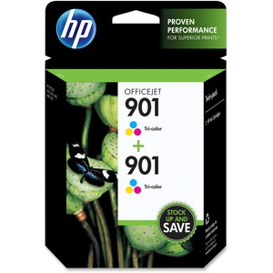 HP 901 2-pack Tri-color Original Ink Cartridges HEWCZ076FN