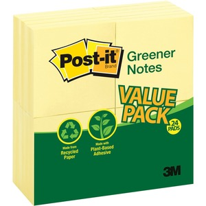 Post-it Greener Notes Recycled Pads MMM654RP24YW