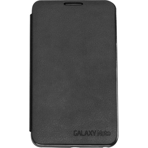 Samsung Cover Case (Flip) for Smartphone - Black - Leather, Plastic, Felt
