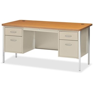 Lorell Fortress Series Double Ped Teacher's Desk LLR41302