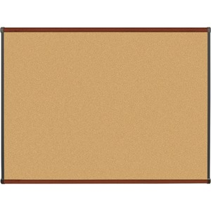 Lorell Mahogany Finish Natural Cork Board LLR60644