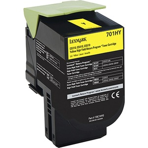 Lexmark 701HY Yellow High Yield Return Program Toner Cartridge LEX70C1HY0