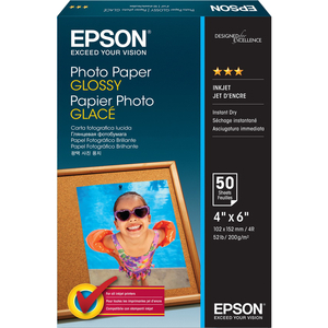 "Epson 4""x 6"" Borderless Glossy Photo Paper 50 Sheets (S041809)"